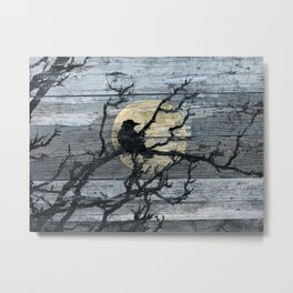 Rustic Crow Blue Grey Wood Type Cottage Chic Country Decor Barn Art A015 Metal Print