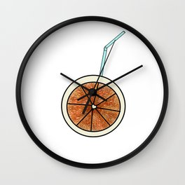bright orange and cocktail straw Wall Clock