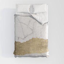 Elegant faux gold foil gray white modern marble Comforters