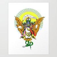 hindu Art Prints featuring Hindu Universe by MARICAMA