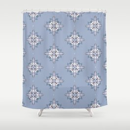 Frosted Flower Diamond Pattern Shower Curtain