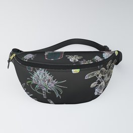 Plant lover pattern neon colors on black Fanny Pack
