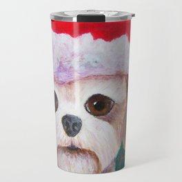 Christmas Shih Tzu By Annie Zeno Travel Mug