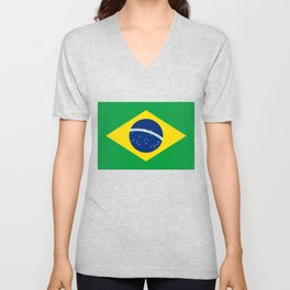 Brazilian National flag Authentic version (color & scale) Unisex V-Neck