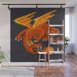 Pixel Fiery Dragon Wall Mural