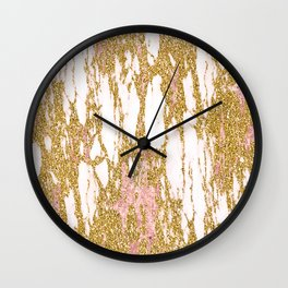 Gold Marble - Intense Glittery Yellow and Rose Gold Marble Wall Clock