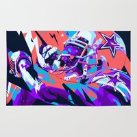 nfl Area & Throw Rugs featuring DEZ BRYANT // NFL GRIDIRON ILLUSTRATION by mergedvisible