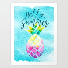 Hello Summer Watercolor Pineapple - Tropical Vacation Pineapple Art Print