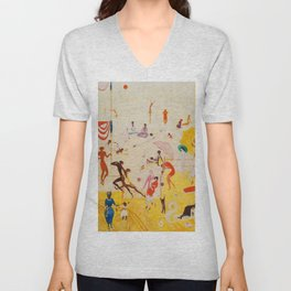 African American Masterpiece 'Summertime, Asbury Park, South' by Florine Stettheimer Unisex V-Neck