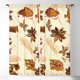 World of spices. Vector design Blackout Curtain
