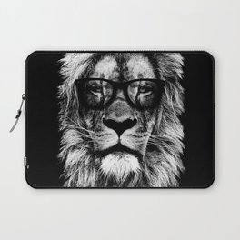 Hipster Lion Black Laptop Sleeve