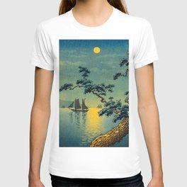 Tsuchiya Koitsu Maiko Seashore Japanese Woodblock Print Night Time Moon Over Ocean Sailboat T-shirt