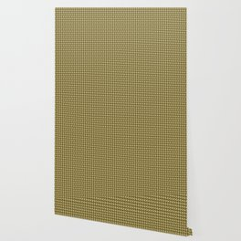 Geometric pattern with half-circles on squares in black, yellow-gold and ocher Wallpaper