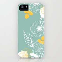 Aqua Retro Floral iPhone Case
