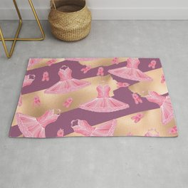 Artsy Girly Pink Gold Purple Ballerina Dress Shoes Rug