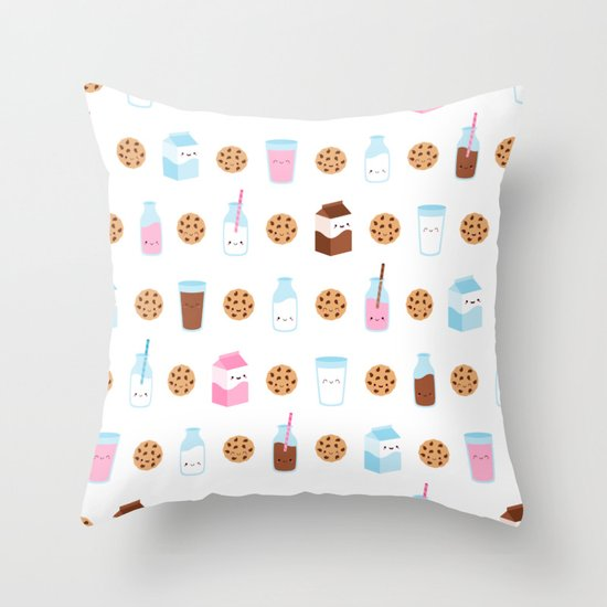 Milk and Cookies Pattern on White Throw Pillow