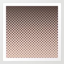 Brown diamonds with tan background geometric pattern Art Print
