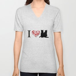 I Heart Cats Unisex V-Neck