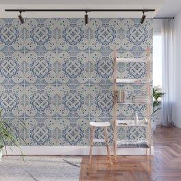 Vintage blue tiles pattern Wall Mural