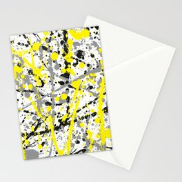 Yellow Grey and Black Ink Splatter on White Stationery Cards