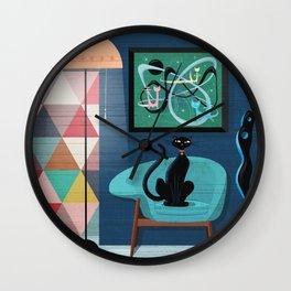 Creature Comforts Mid-Century Interior With Black Cat Wall Clock