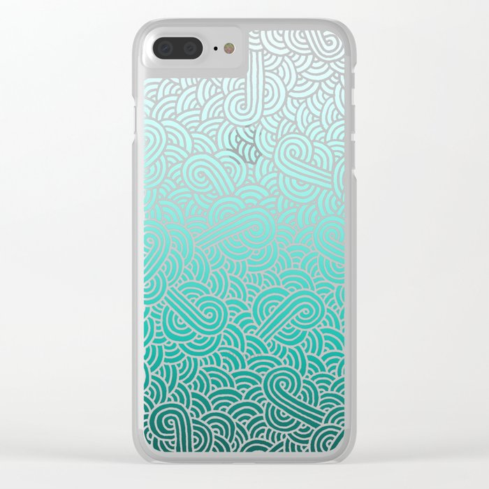 Faded teal blue and white swirls doodles Clear iPhone Case