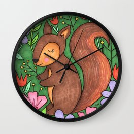 Spring Squirrel Wall Clock