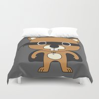 beaver Duvet Covers featuring Super Beaver by Ariseli Modica