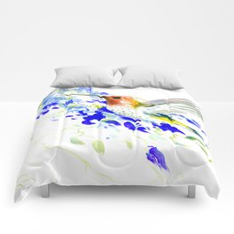 Hummingbird and Blue Flowers Comforters