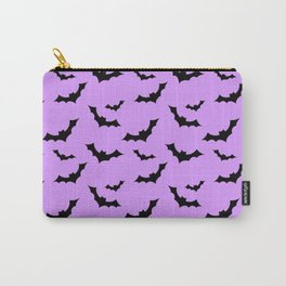 Black Bat Pattern on Purple Carry-All Pouch