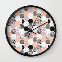 Pattern of marble hexagons and tropical textures Wall Clock