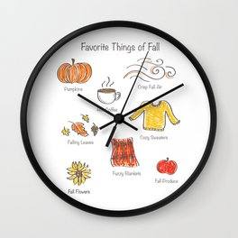 Favorite Things of Fall Doodle Wall Clock