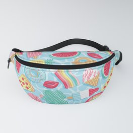 Epic pool floats top view // blue background Fanny Pack