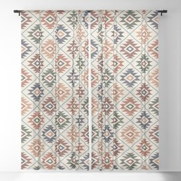 Aztec Symbol Pattern Col Mix Sheer Curtain