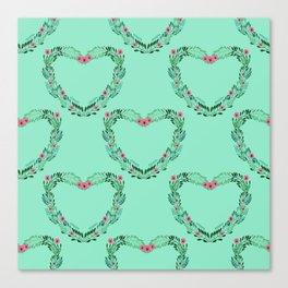 Heart Wreath Hand-painted in Green Ferns and Pink Blossoms on Tiffany Aqua Canvas Print