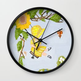 Sunbonnet and Butterfly vintage Wall Clock