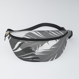 Tropical Leaf Silhouette in Gray Palette Fanny Pack