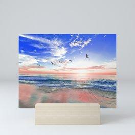 Peaceful Tropical Sunset Beach Retreat Mini Art Print