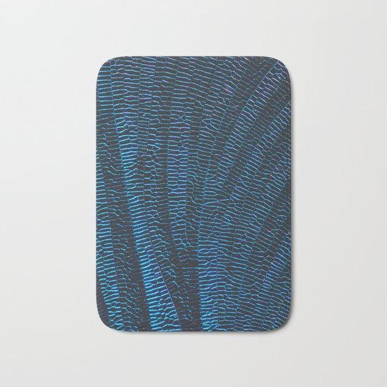 Dragonfly shiny vibrant blue wings Bath Mat