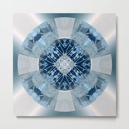 Microchip Mandala in Blue Metal Print