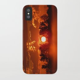 Flaming Horses over the Foggy Sunrise iPhone Case
