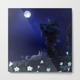 Blue Moon gazing and moonflowers Metal Print