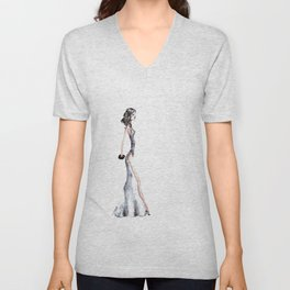 Lady - Watercolors and Ink Unisex V-Neck
