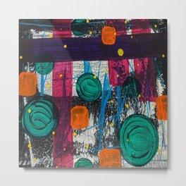 Abstract Geometric Shapes Deep Dark Colors Naive Brushstrokes Metal Print