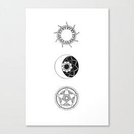 Sun, Moon and Star Mandalas Canvas Print