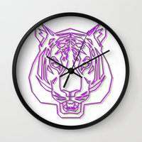 rave Wall Clocks featuring Tiger Rave by James Thornton