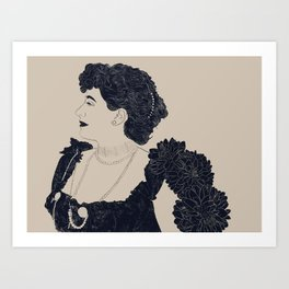 Victorian Woman with Dalias Art Print