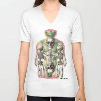 bones V-neck T-shirts featuring BONES by MANDIATO ART & T-SHIRTS
