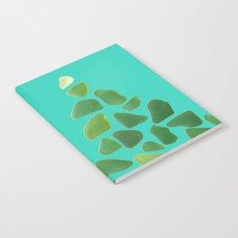 Green Sea Glass Tree on Turquoise #seaglass #Christmas Notebook