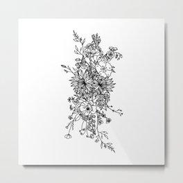 LINE ART FLORAL BOUQUET Metal Print